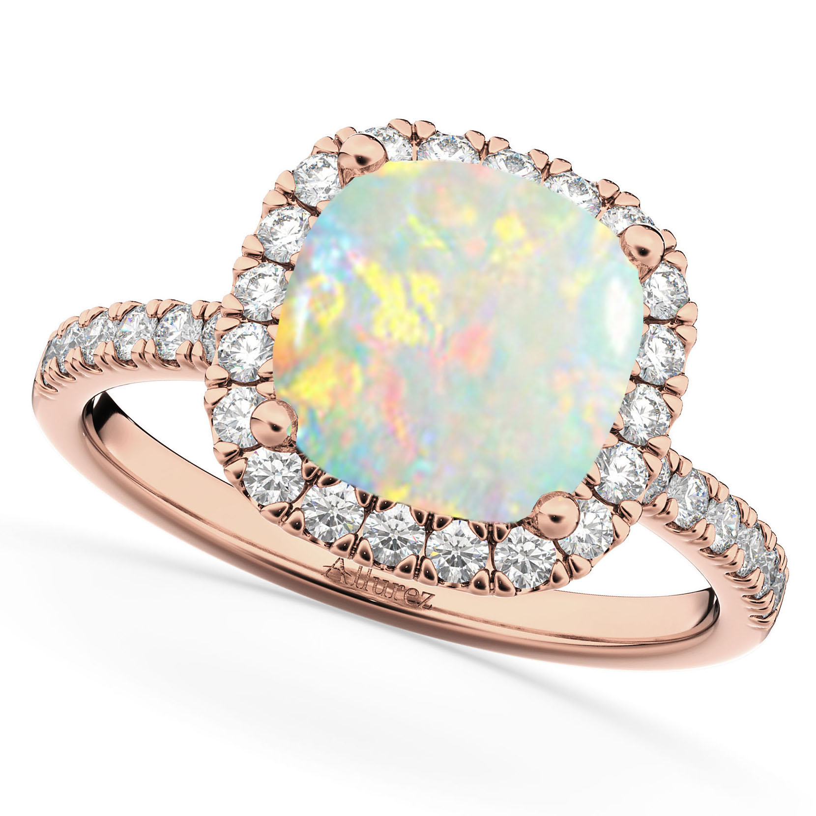 Cushion Cut Halo Opal Diamond Engagement Ring 14k Rose Gold 3 11ct