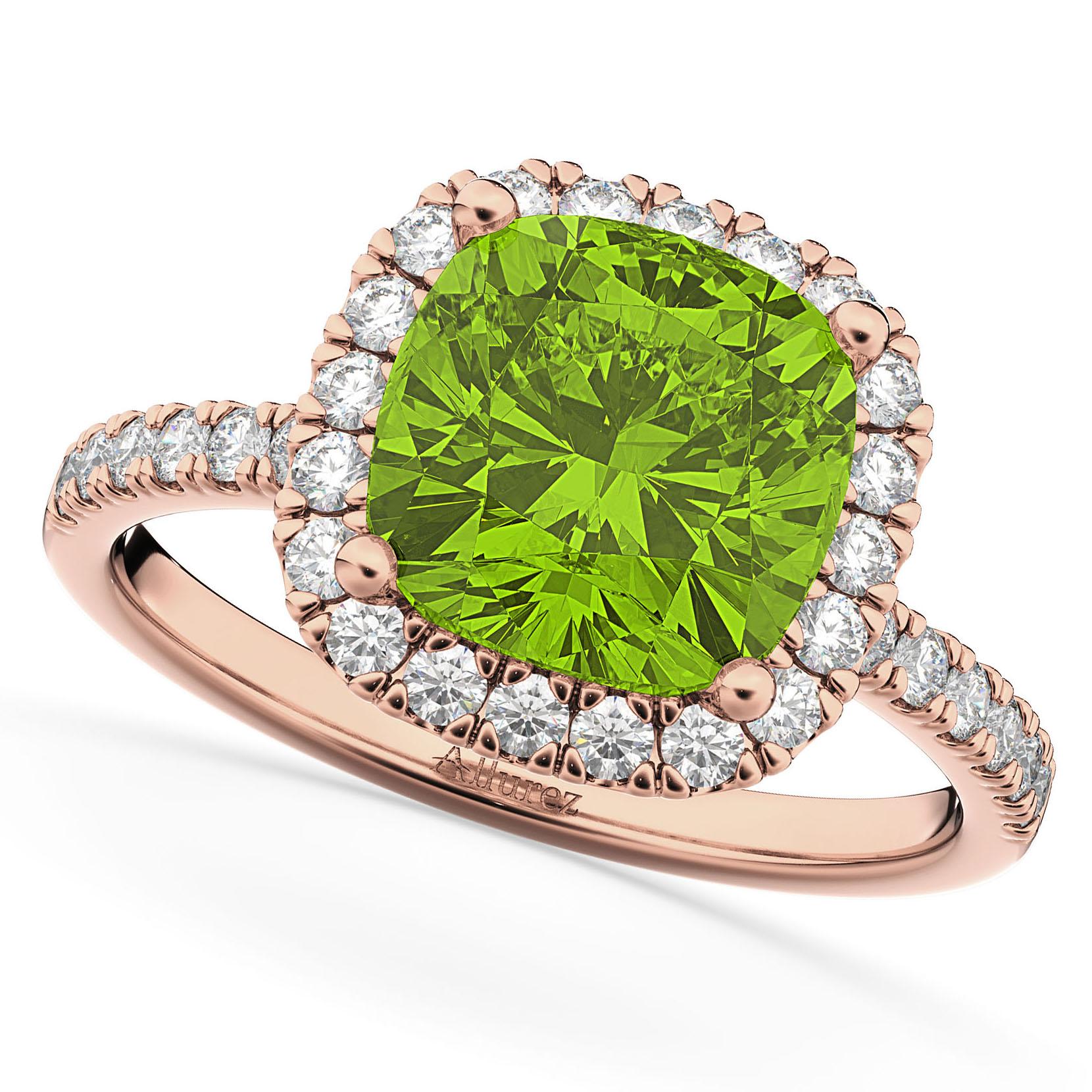 Cushion Cut Halo Peridot & Diamond Engagement Ring 14k