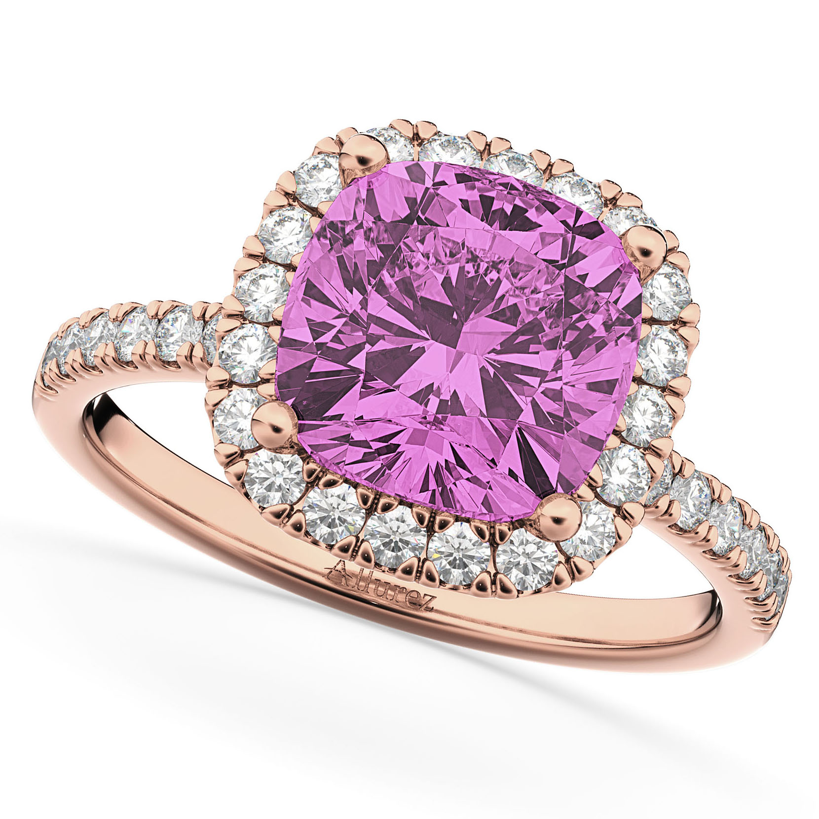 Cushion Cut Halo Pink Sapphire & Diamond Engagement Ring 14k Rose Gold (3.11ct)
