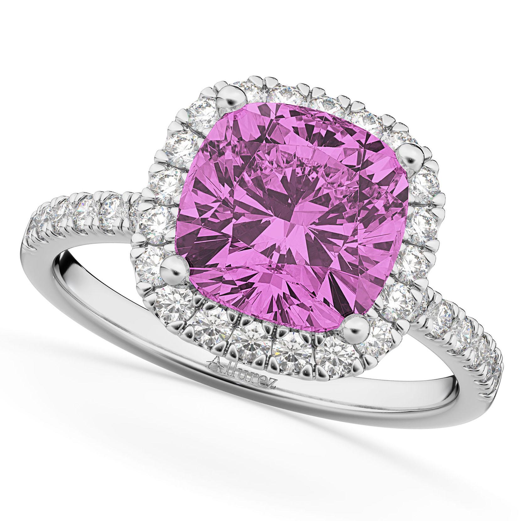 Cushion Cut Halo Pink Sapphire & Diamond Engagement Ring 14k White Gold (3.11ct)