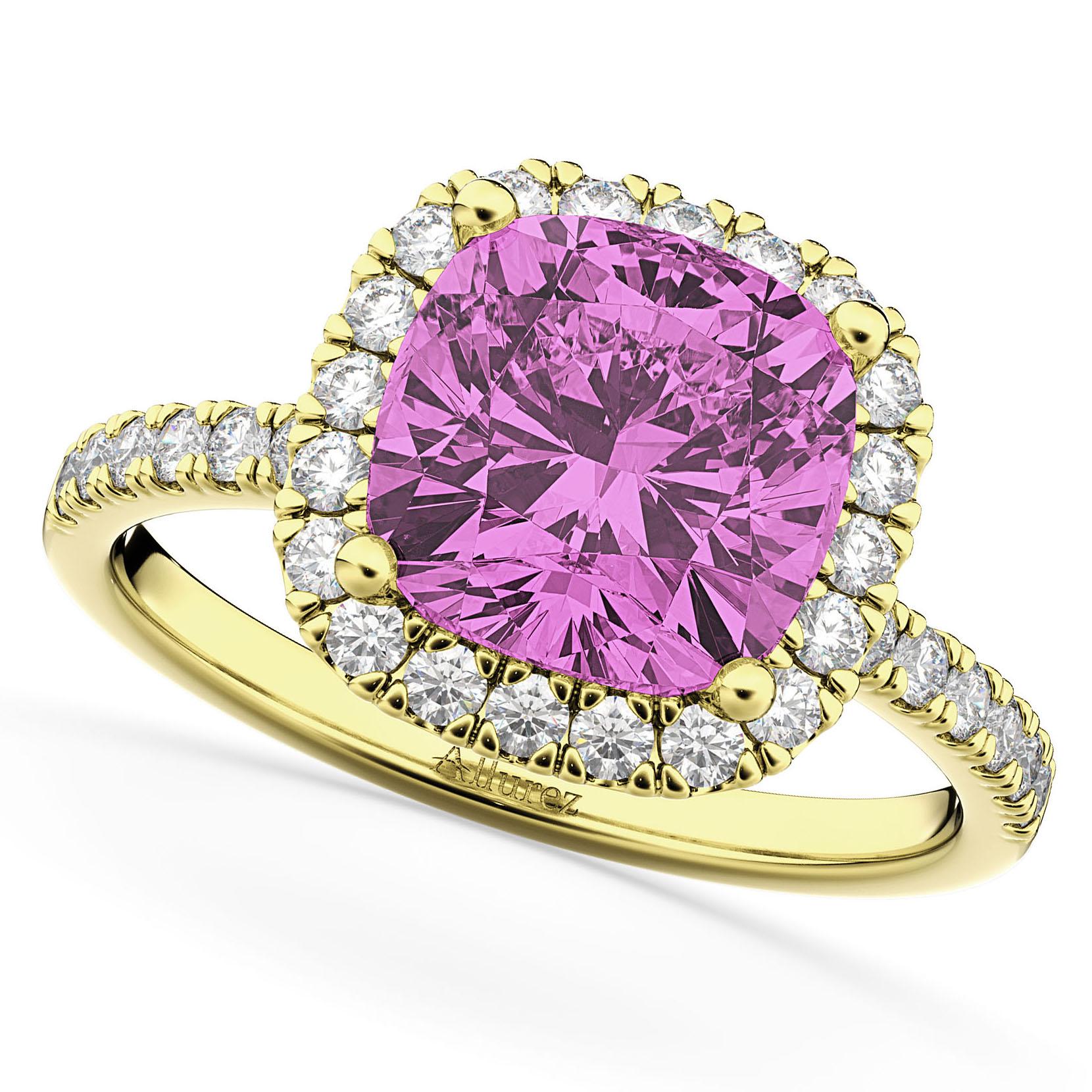 Cushion Cut Halo Pink Sapphire & Diamond Engagement Ring 14k Yellow Gold (3.11ct)