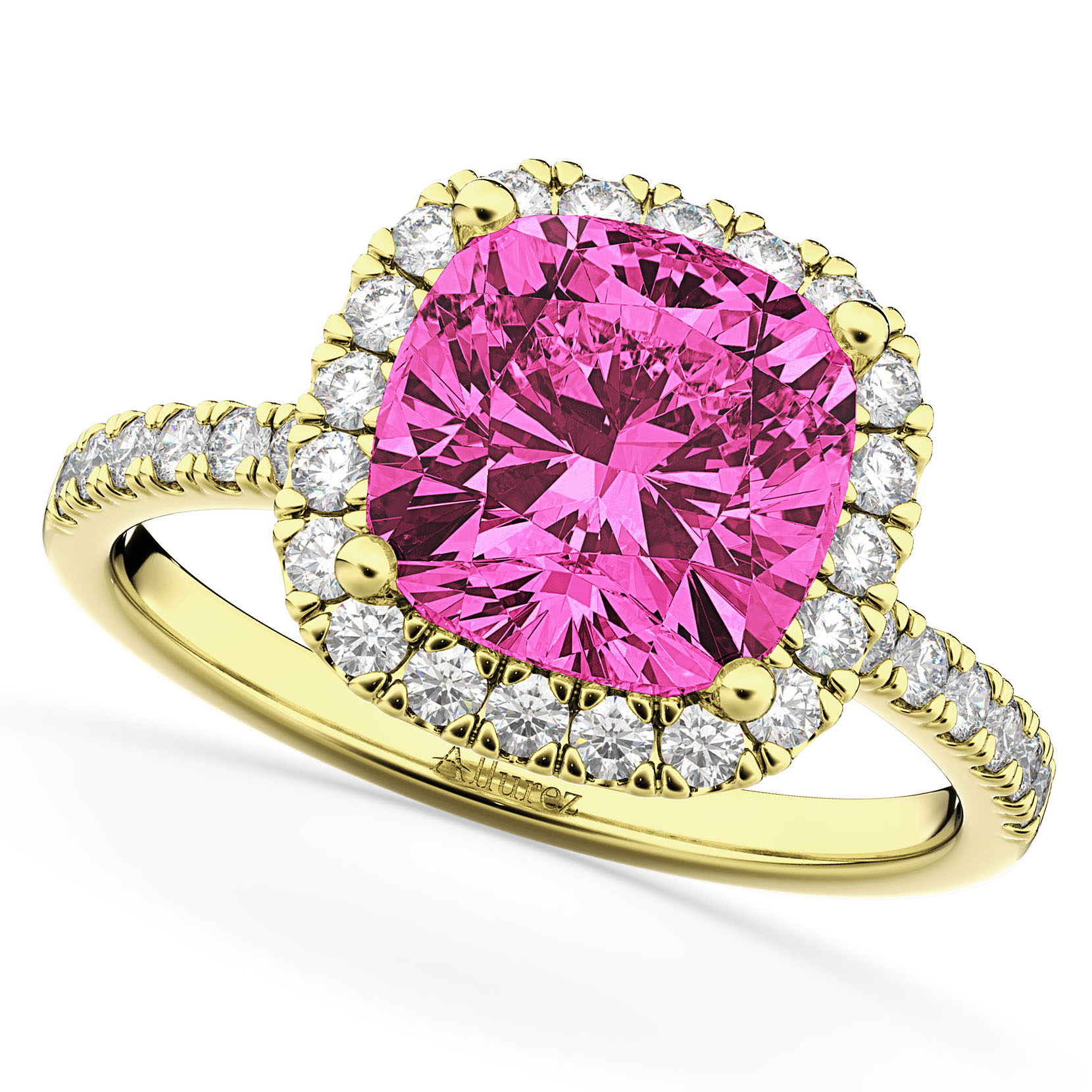 Cushion Cut Halo Pink Tourmaline & Diamond Engagement Ring 14k Yellow Gold (3.11ct)