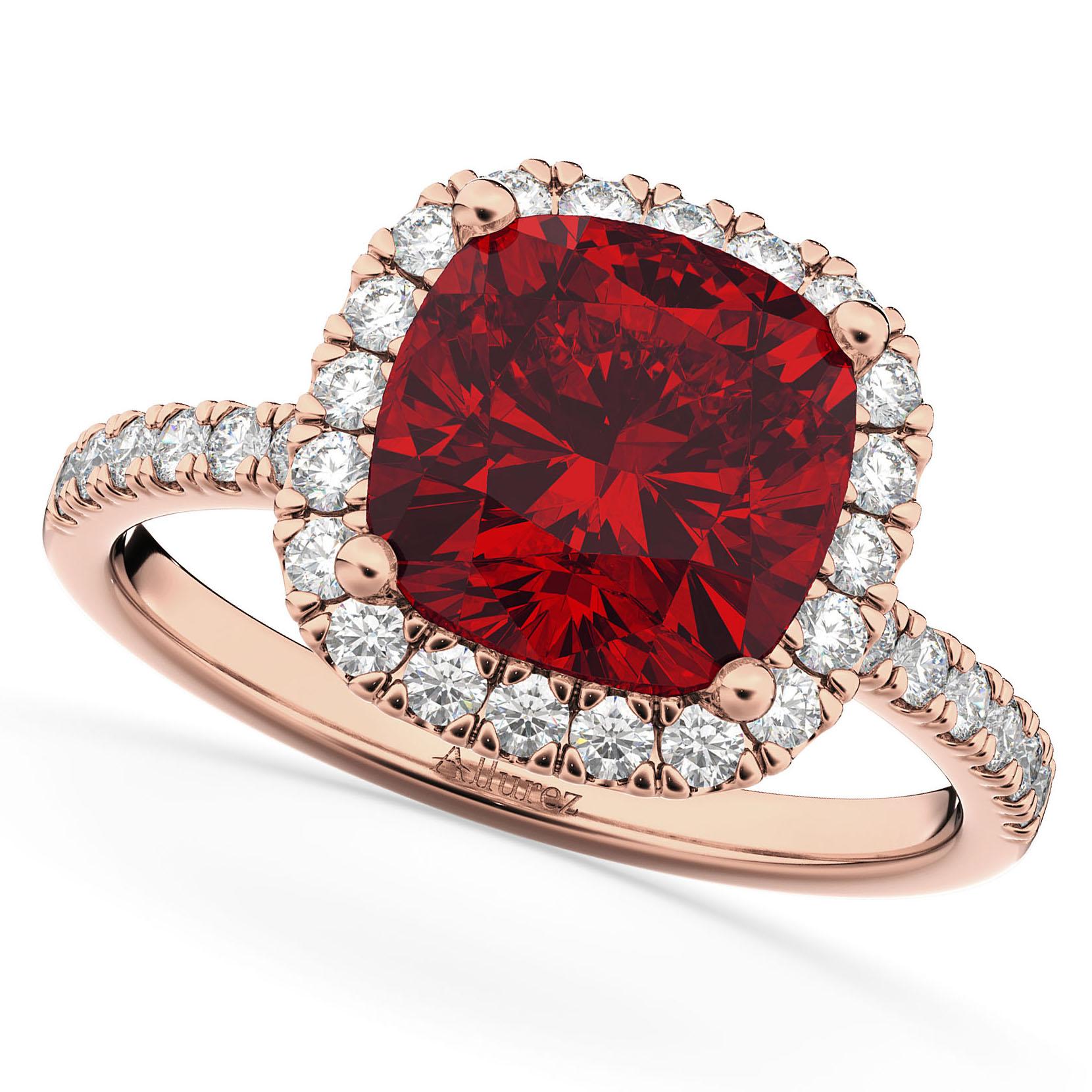 Cushion Cut Halo Ruby & Diamond Engagement Ring 14k Rose Gold (3.11ct)