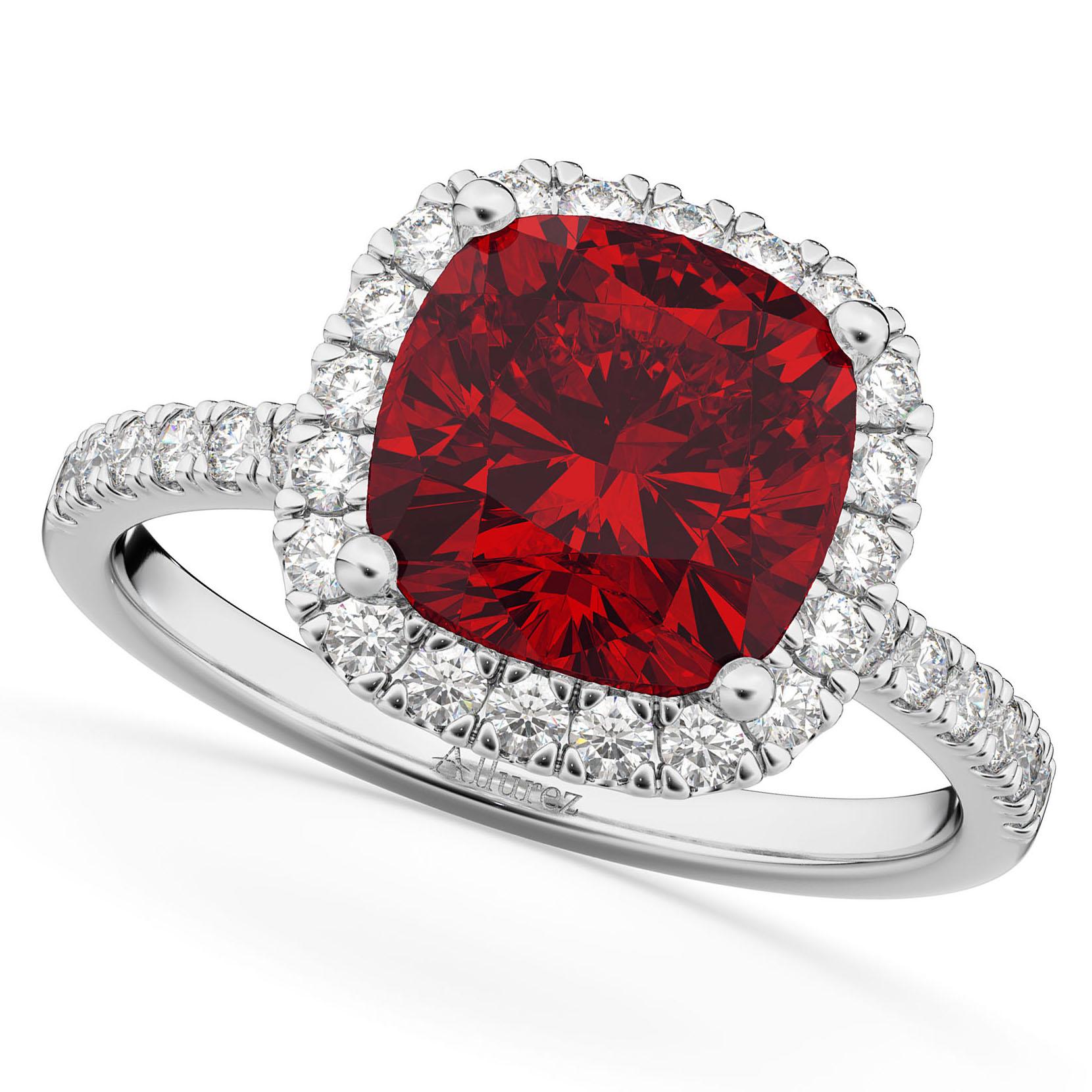 Cushion Cut Halo Ruby & Diamond Engagement Ring 14k White Gold (3.11ct)