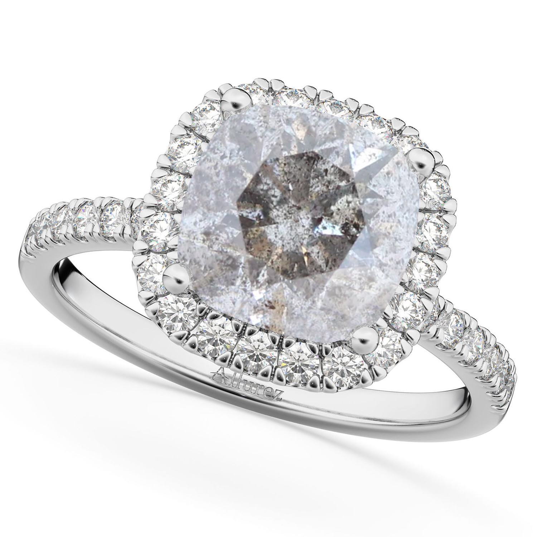 Cushion Cut Salt & Pepper Diamond Engagement Ring 14k White Gold (2.55ct)