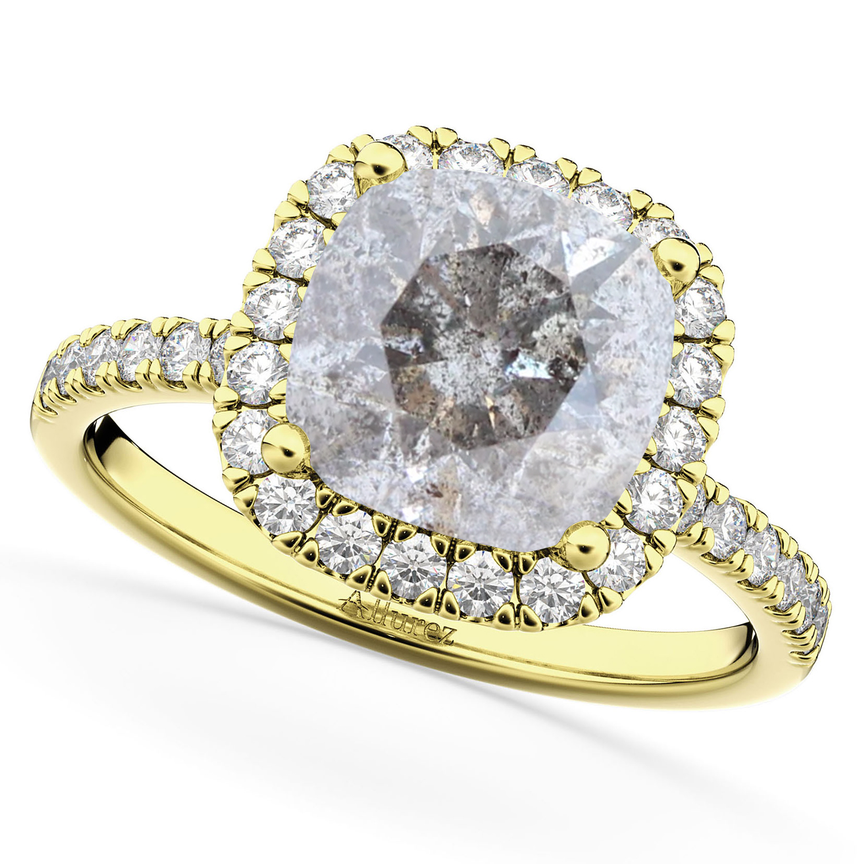 Cushion Cut Salt & Pepper Diamond Engagement Ring 14k Yellow Gold (2.55ct)