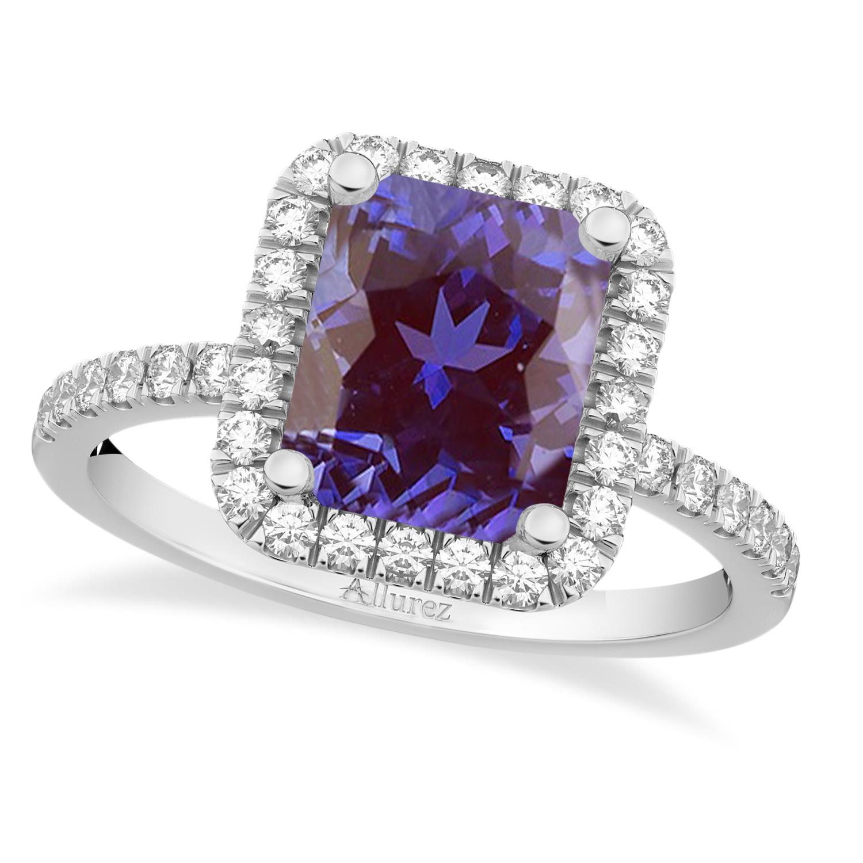 Lab Alexandrite & Diamond Engagement Ring 14k White Gold (3.32ct)