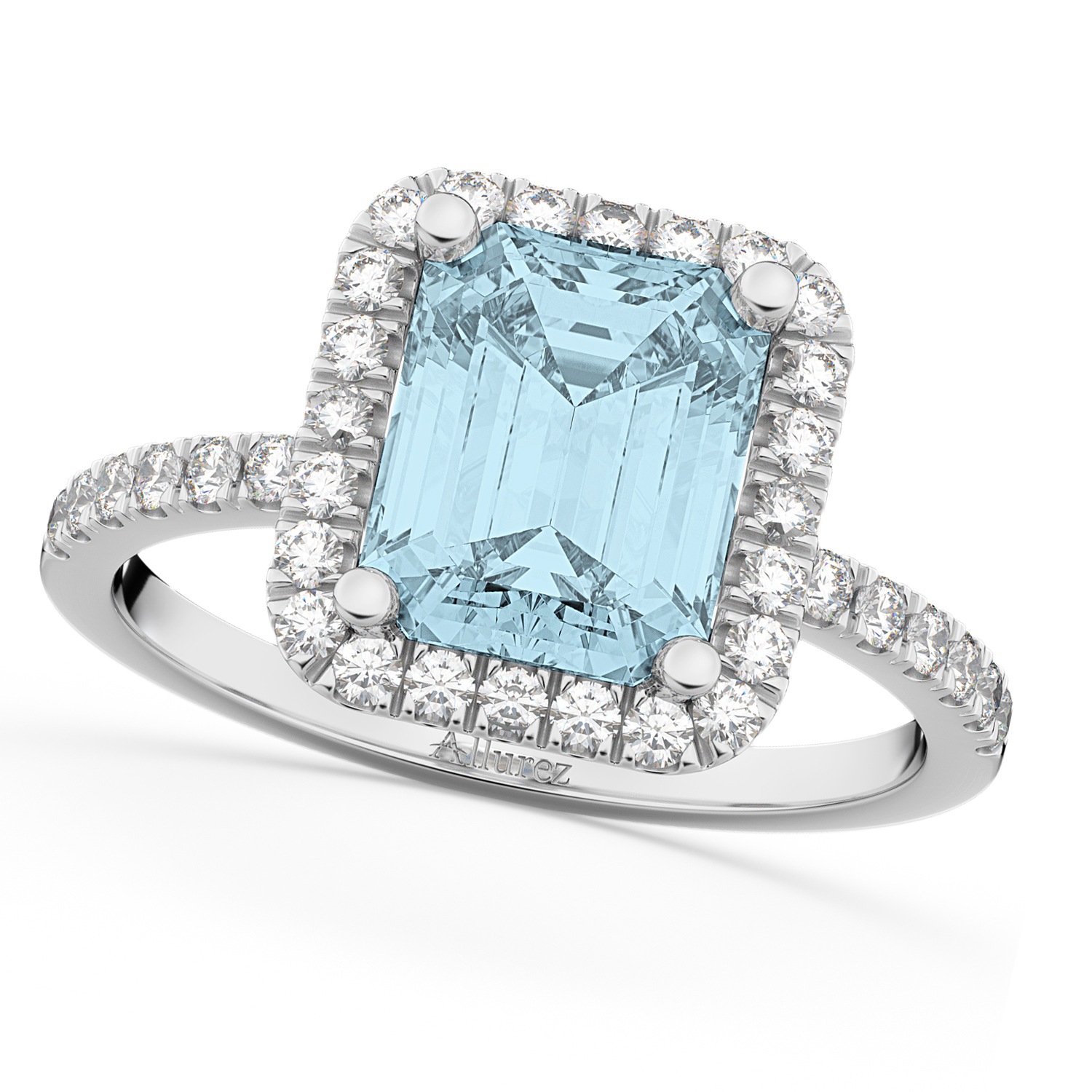 Aquamarine & Diamond Engagement Ring 14k White Gold (3.32ct)