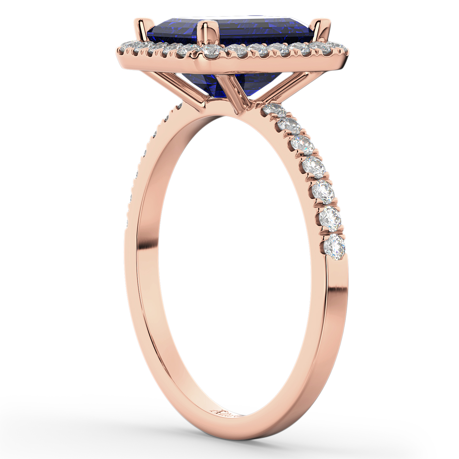 Blue Sapphire Diamond Engagement Ring 18k Rose Gold (3.32ct)