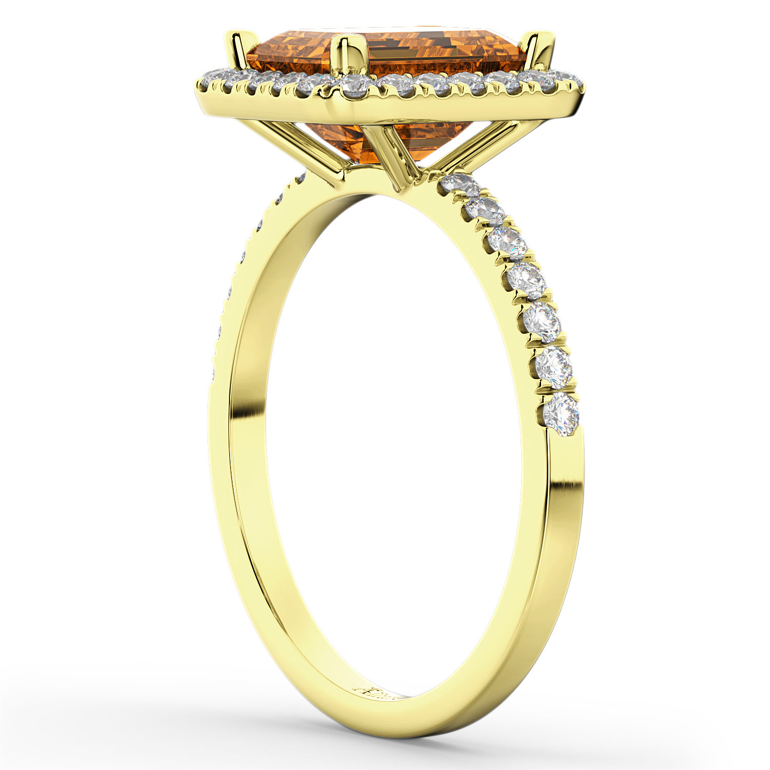 emerald cut citrine engagement ring 18k yellow