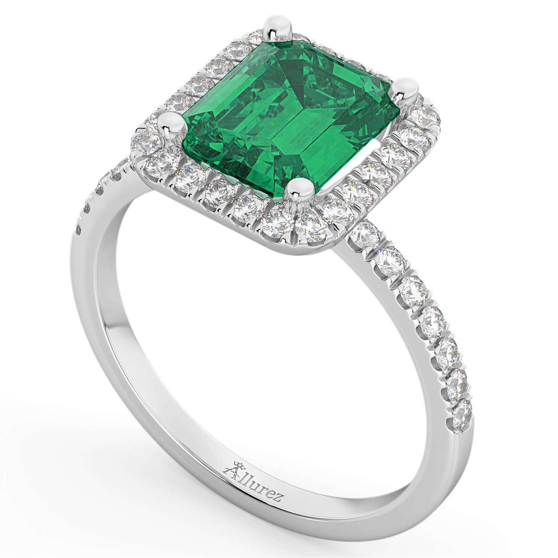 Emerald & Diamond Engagement Ring 14k White Gold (3.32ct)