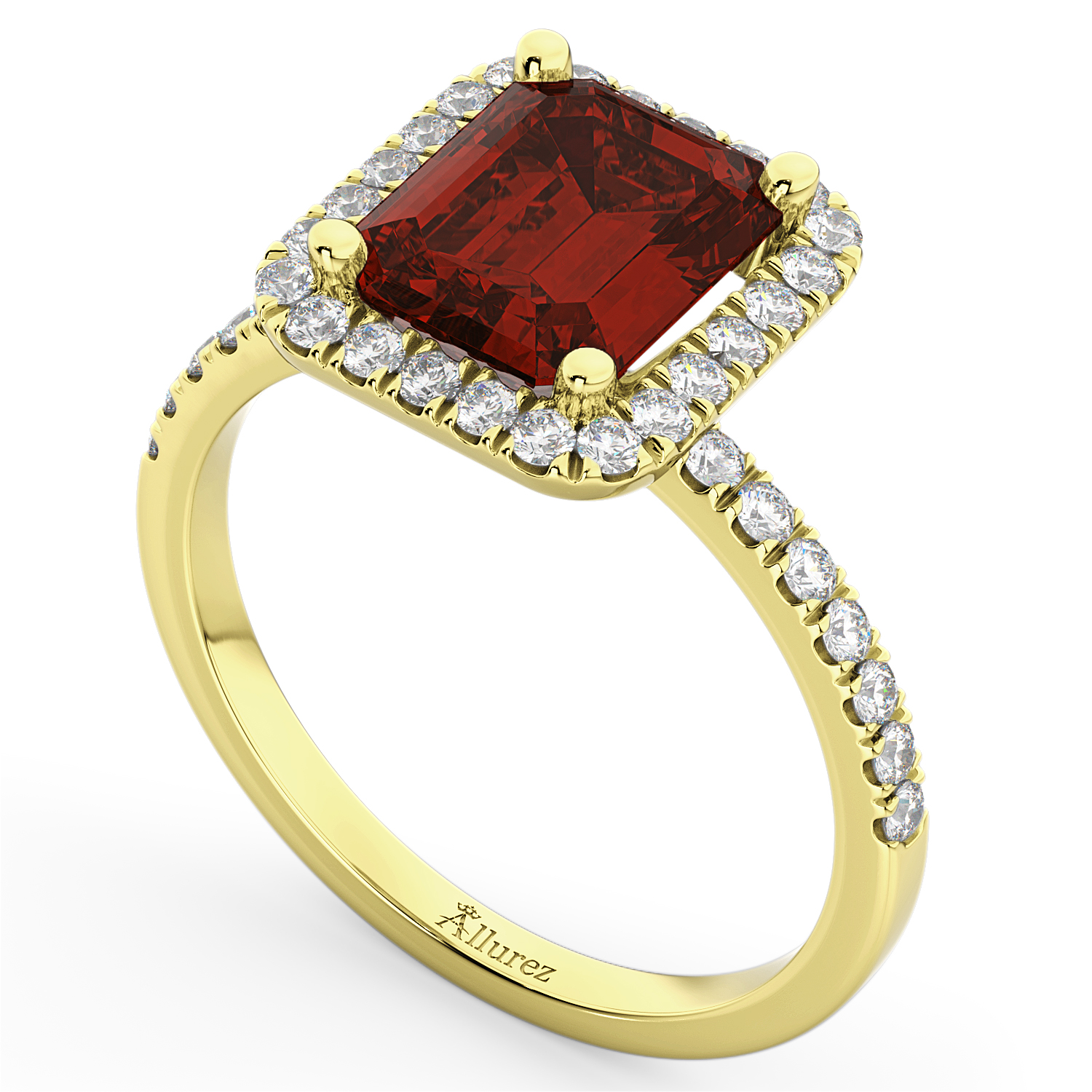 emerald cut garnet engagement ring 18k yellow gold