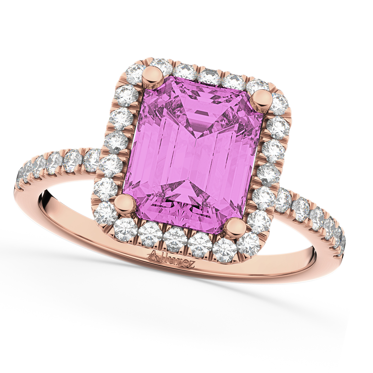 Pink Sapphire Diamond Engagement Ring 18k Rose Gold (3 ...