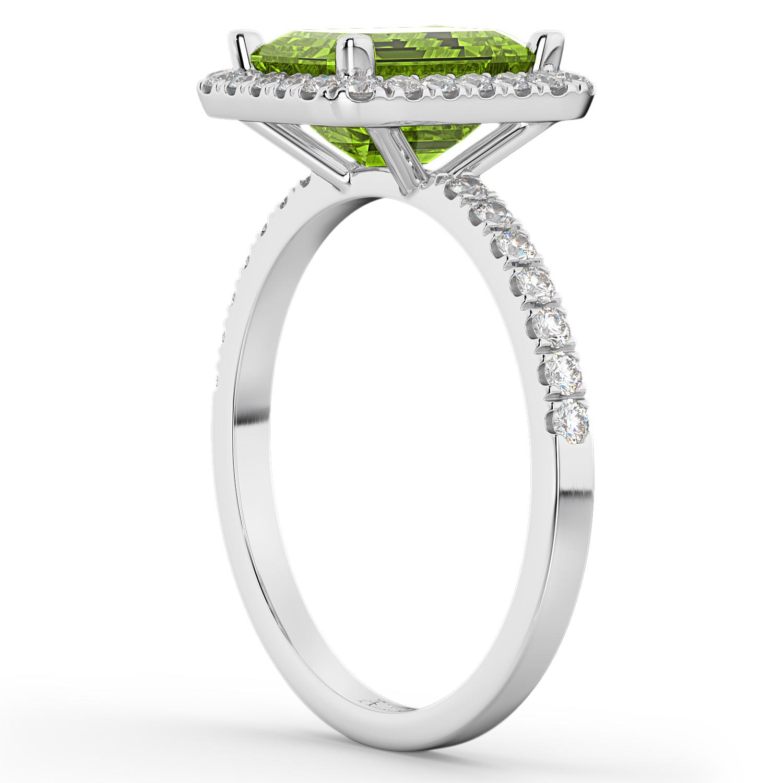 emerald cut peridot engagement ring 14k white
