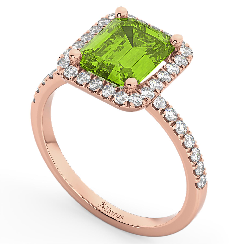 emerald cut peridot engagement ring 18k gold