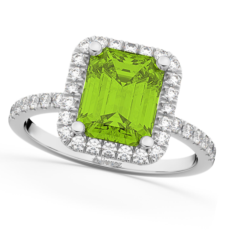 Emerald-Cut Peridot & Diamond Engagement Ring 18k White Gold (3.32ct)