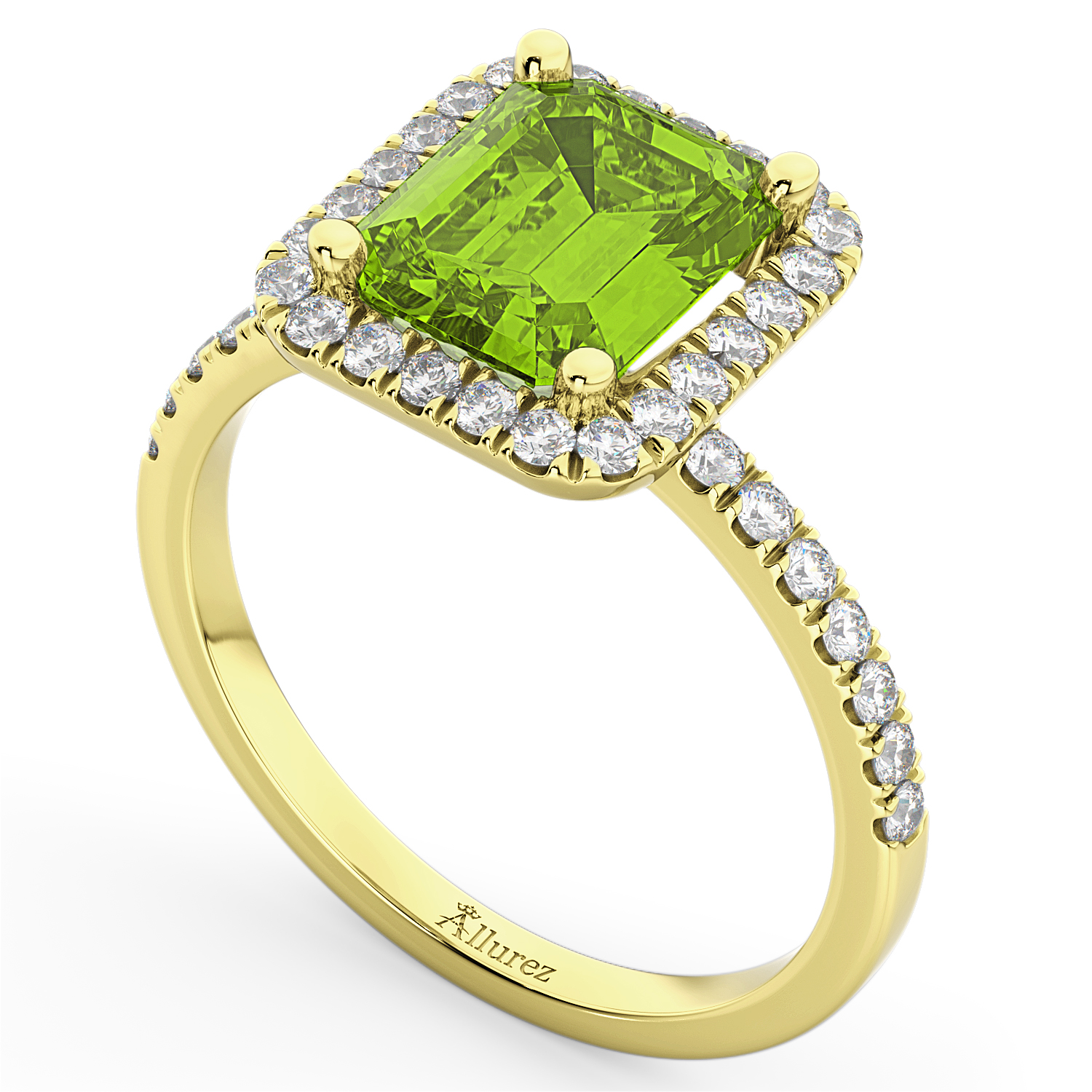 Emerald Cut Peridot Diamond Engagement Ring 18k Yellow Gold 3 32ct