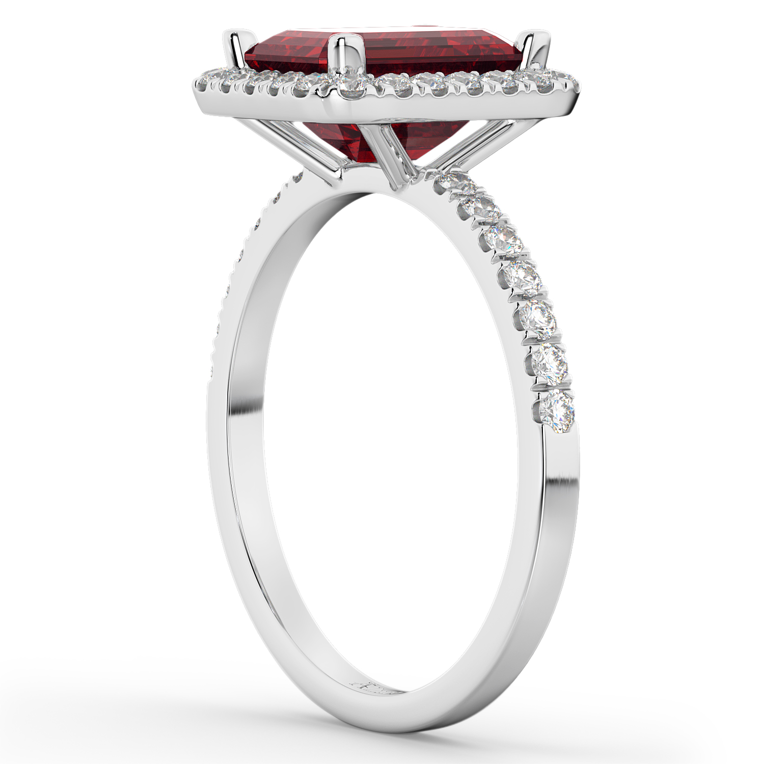 Ruby & Diamond Engagement Ring 14k White Gold