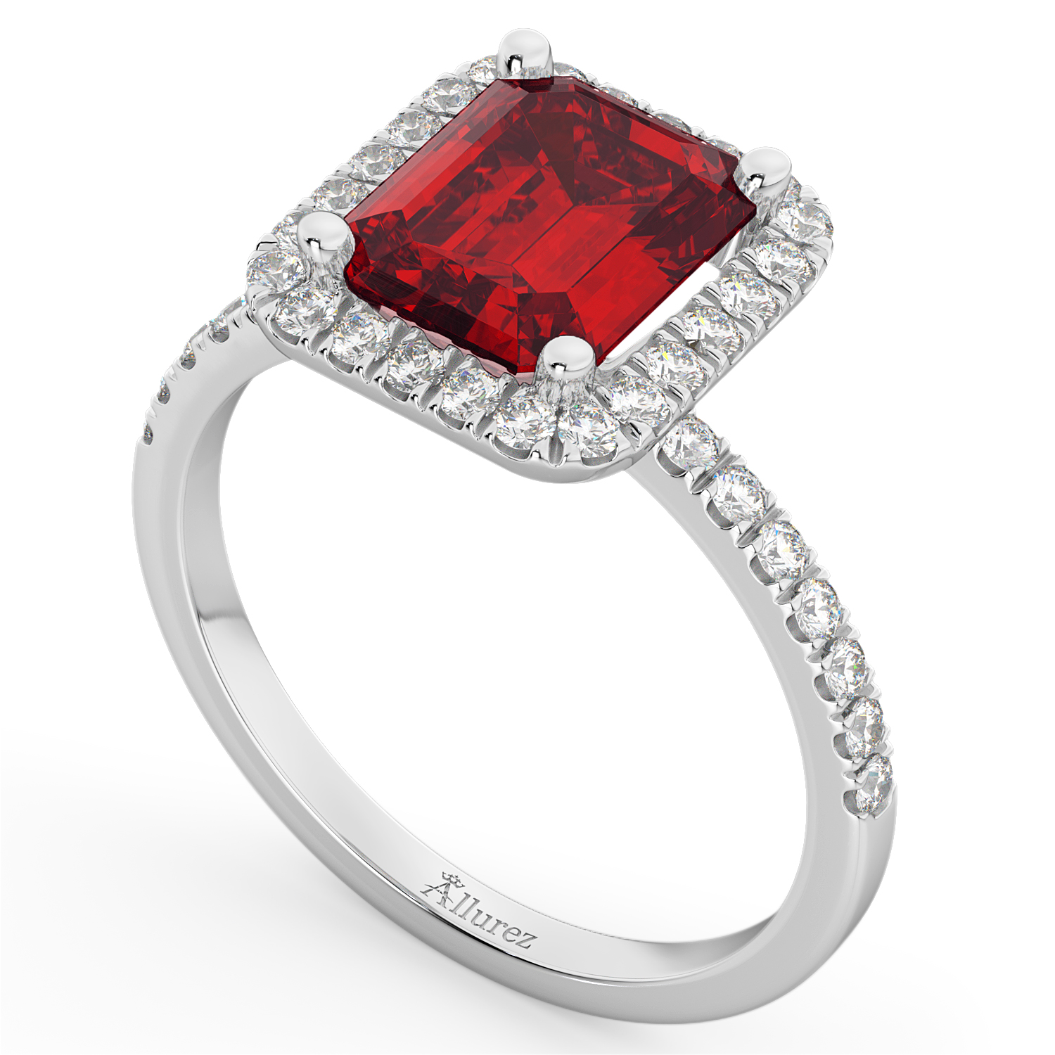 Ruby & Diamond Engagement Ring 14k White Gold (3.32ct ...