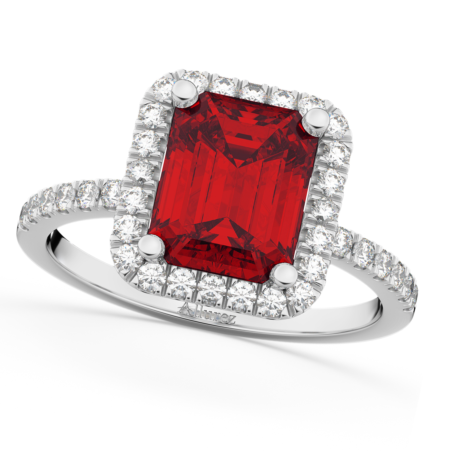 Ruby & Diamond Engagement Ring 18k White Gold (3.32ct)