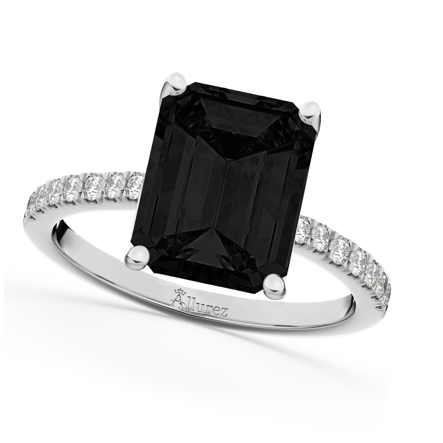 Emerald Cut Black Diamond & Diamond Engagement Ring 14k White Gold (2.96ct)