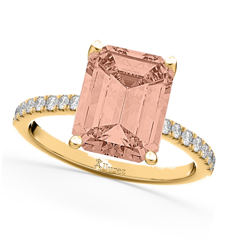 Emerald Cut Morganite & Diamond Engagement Ring 14k Yellow Gold (2.96ct)