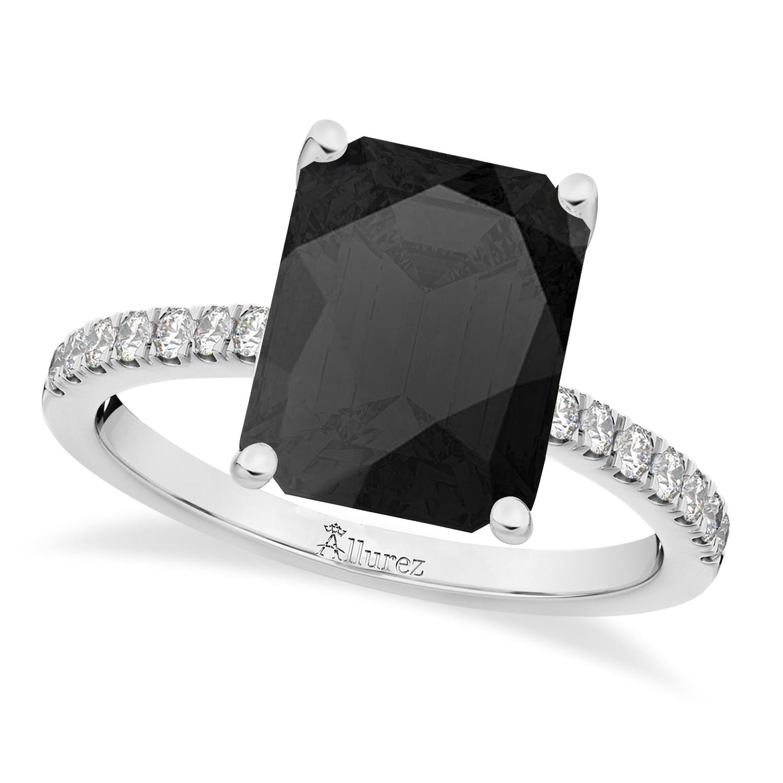 Emerald Cut Onyx & Diamond Engagement Ring 14k White Gold (2.96ct)