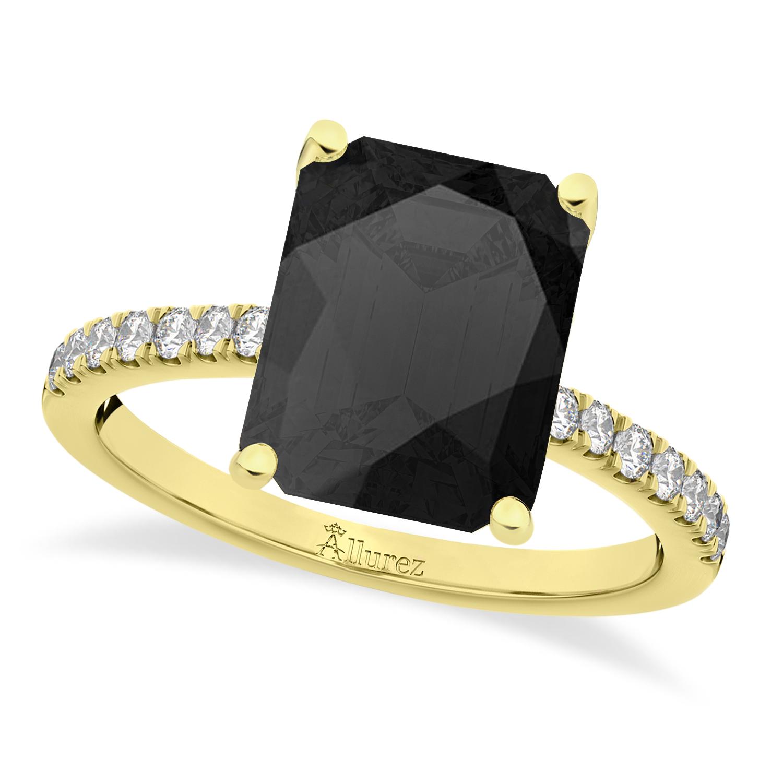 Emerald Cut Onyx & Diamond Engagement Ring 14k Yellow Gold (2.96ct)