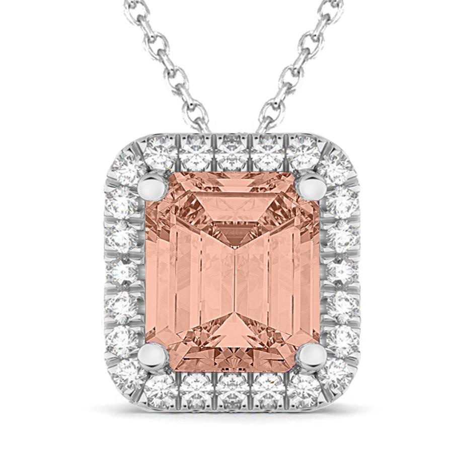 Emerald Cut Morganite & Diamonds Pendant 14k White Gold (3.11ct)