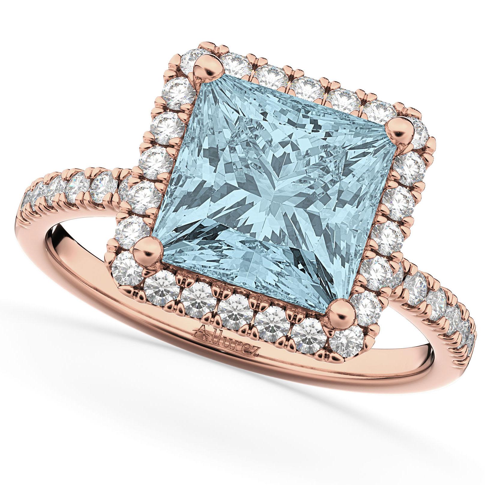 Princess Cut Halo Aquamarine & Diamond Engagement Ring 14K Rose Gold 3.47ct