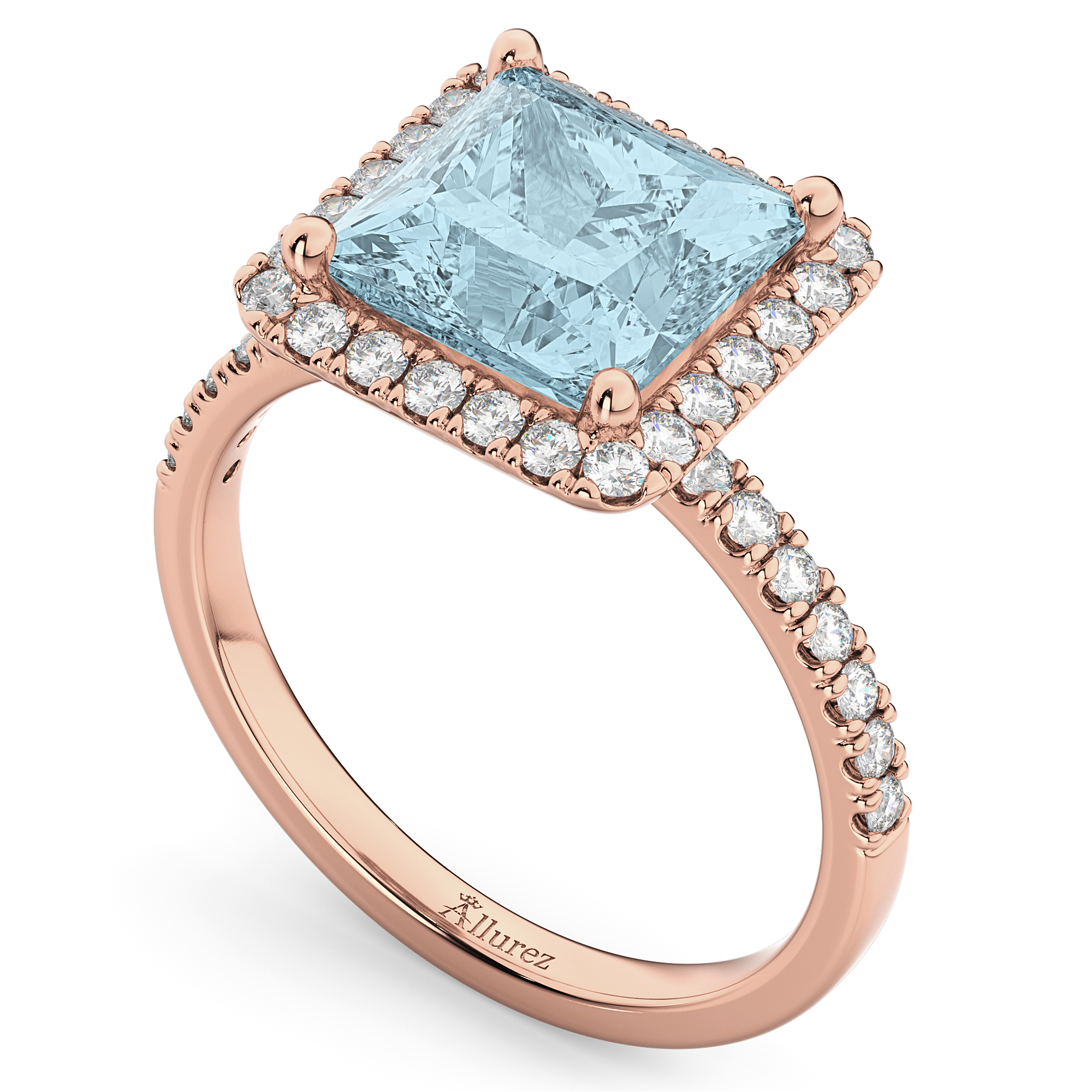 princess cut halo aquamarine engagement ring 14k