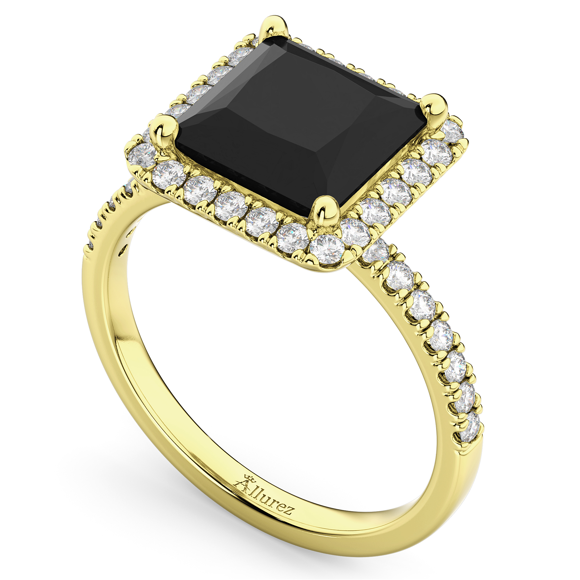 princess cut halo black diamond engagement ring 14k yellow. Black Bedroom Furniture Sets. Home Design Ideas
