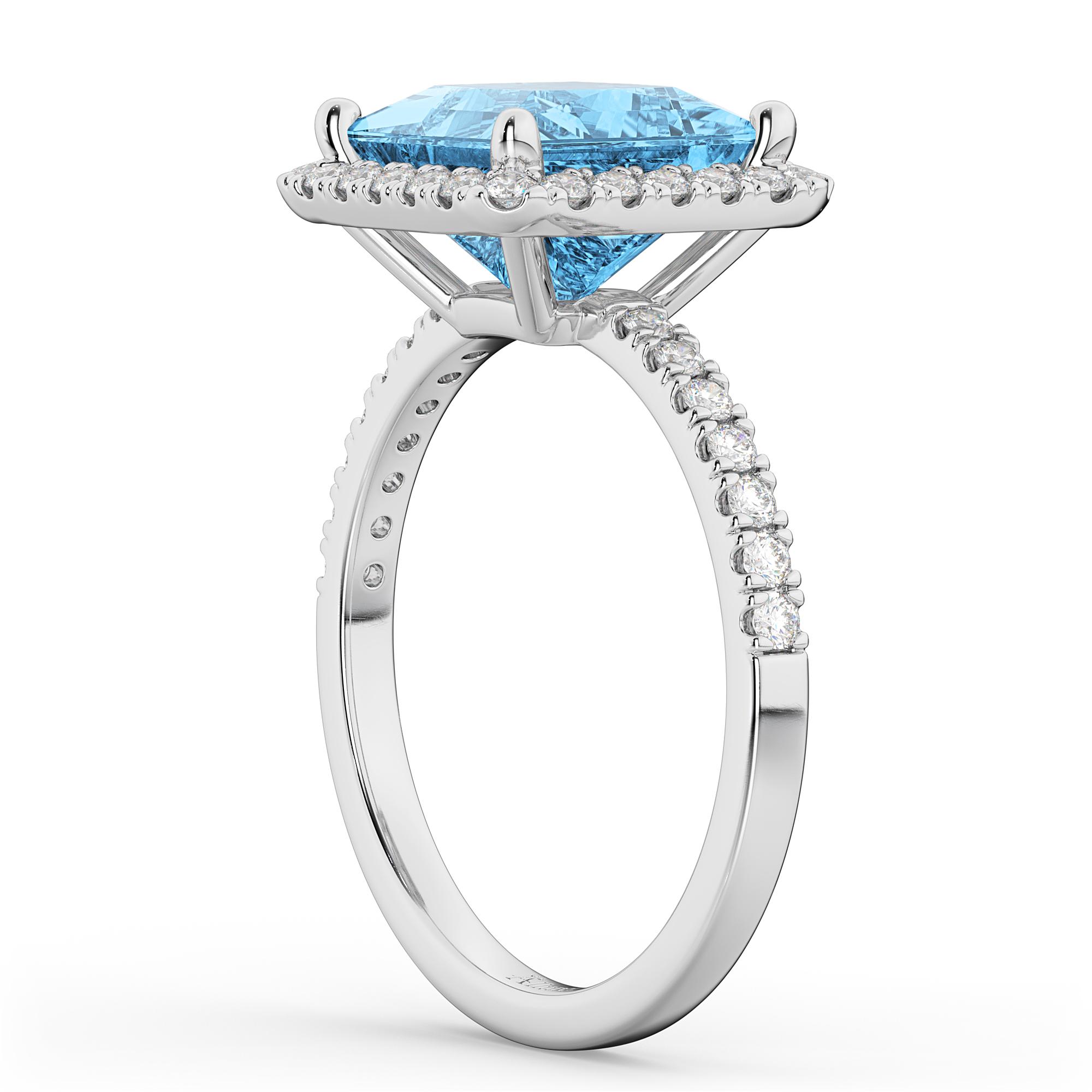 princess cut halo blue topaz engagement ring 14k