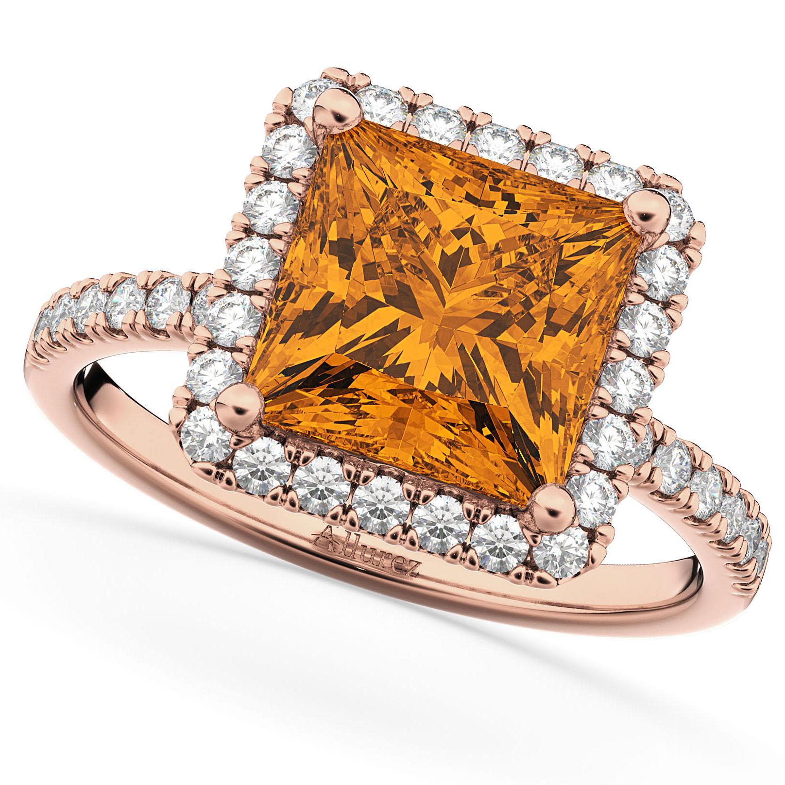Princess Cut Halo Citrine & Diamond Engagement Ring 14K Rose Gold 3.47ct