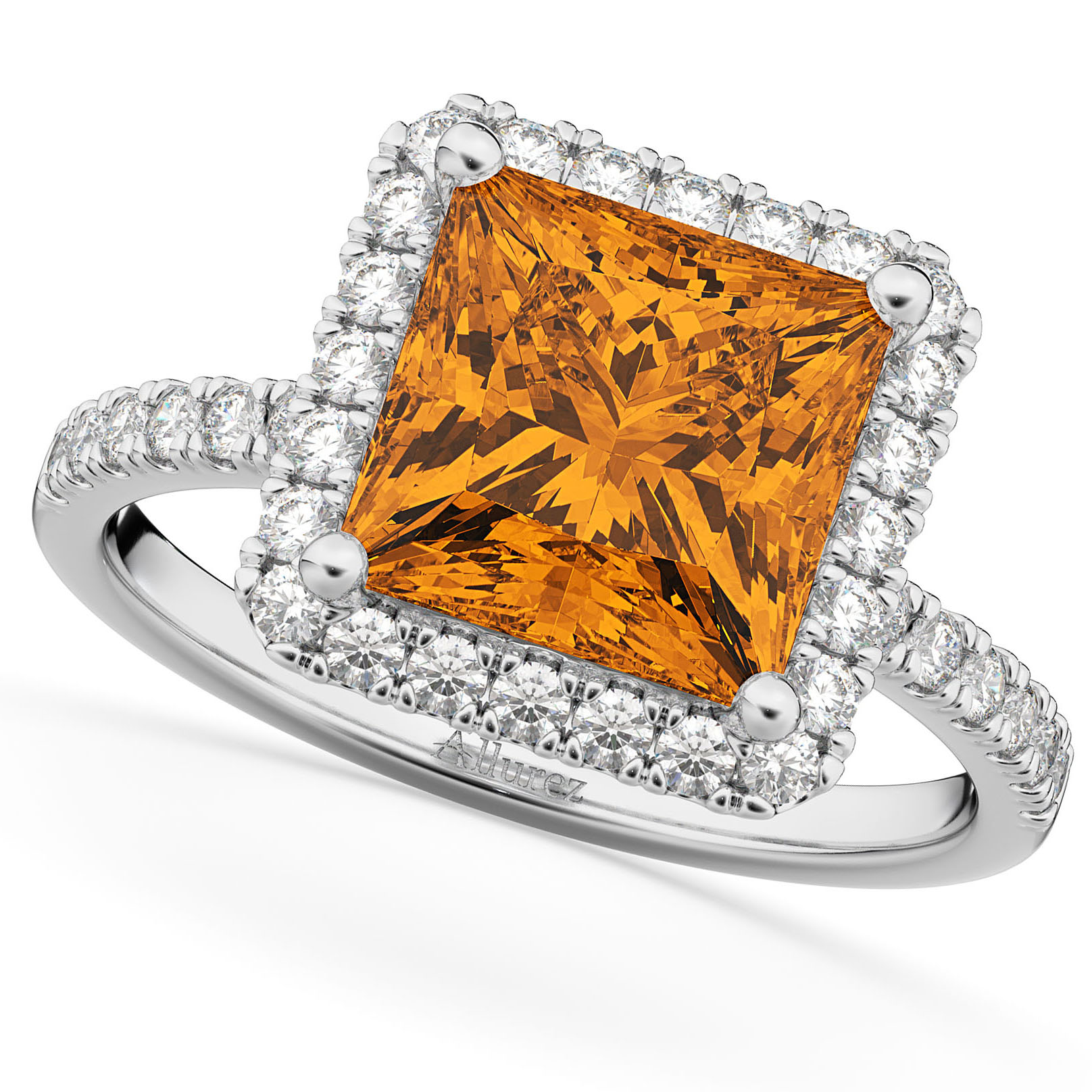 princess cut halo citrine engagement ring 14k