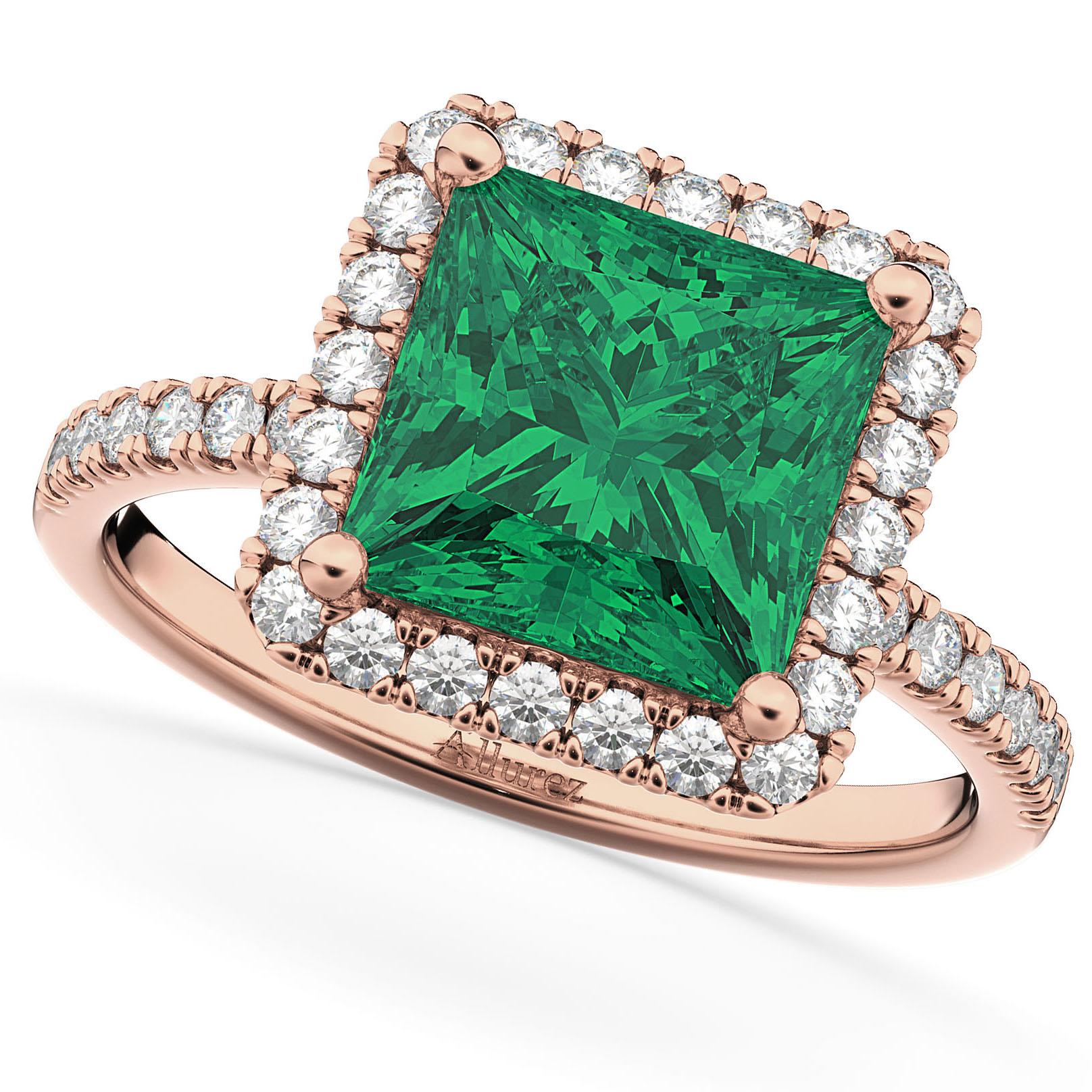 Princess Cut Halo Emerald & Diamond Engagement Ring 14K Rose Gold 3.57ct