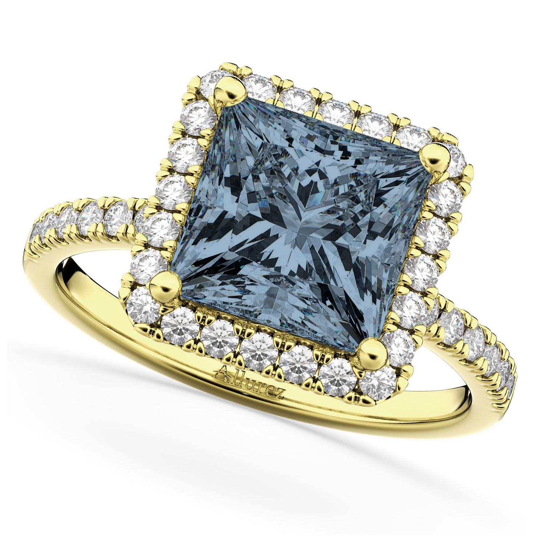 Princess Cut Halo Gray Spinel & Diamond Engagement Ring 14K Yellow Gold 3.47ct