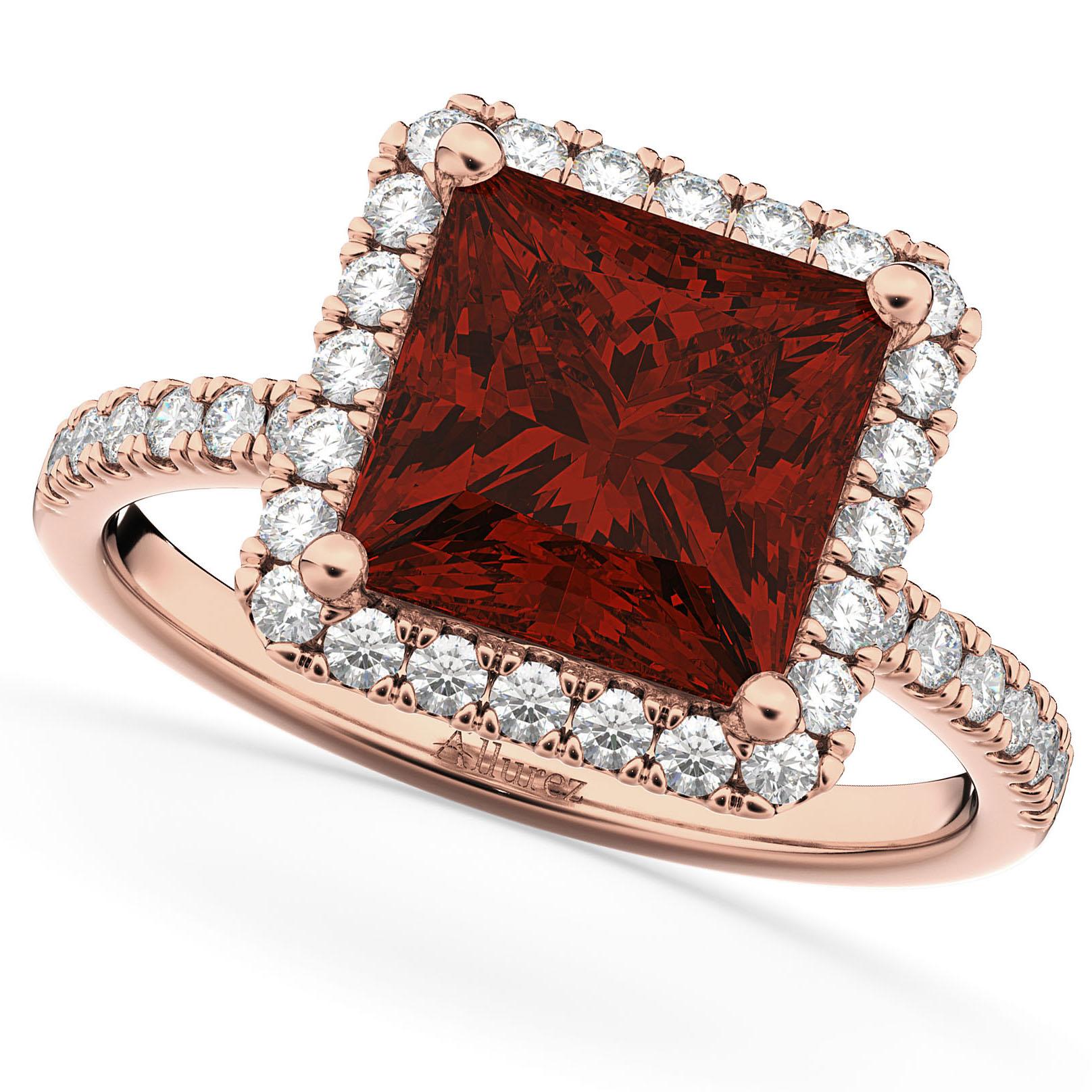 Princess Cut Halo Garnet & Diamond Engagement Ring 14K Rose Gold 3.47ct