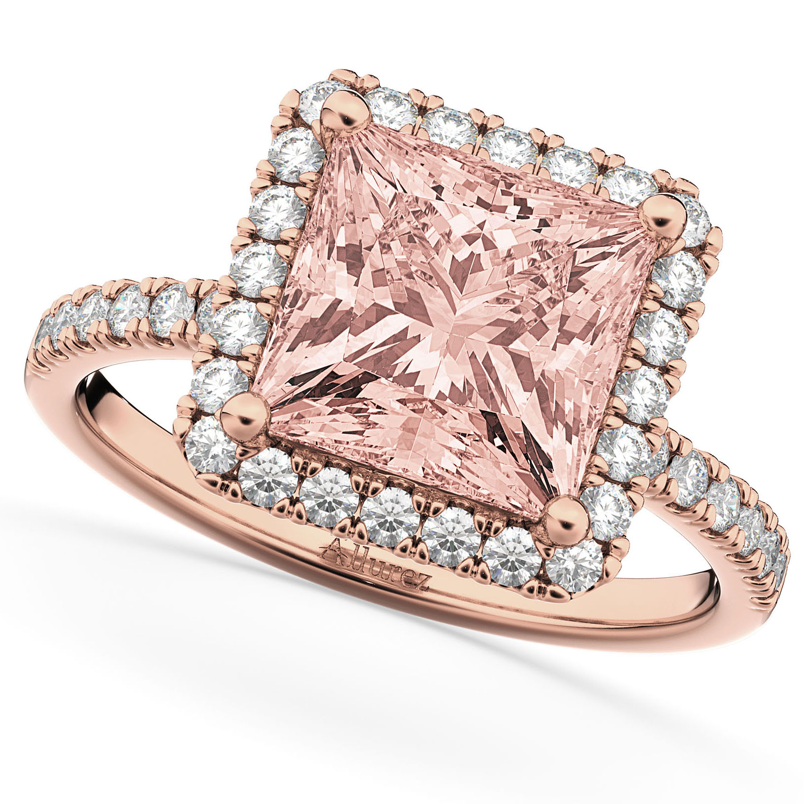Princess Cut Halo Morganite & Diamond Engagement Ring 14K Rose Gold 3.47ct
