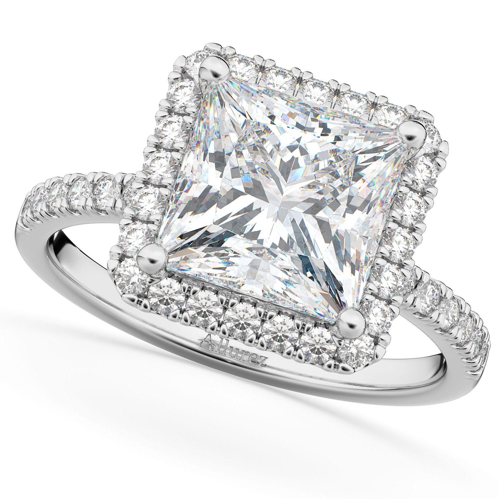 Princess Cut Halo Moissanite & Diamond Engagement Ring 14K White Gold 3.35ct
