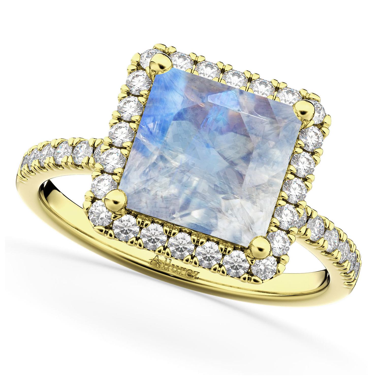 Princess Cut Halo Moonstone & Diamond Engagement Ring 14K Yellow Gold 3.47ct