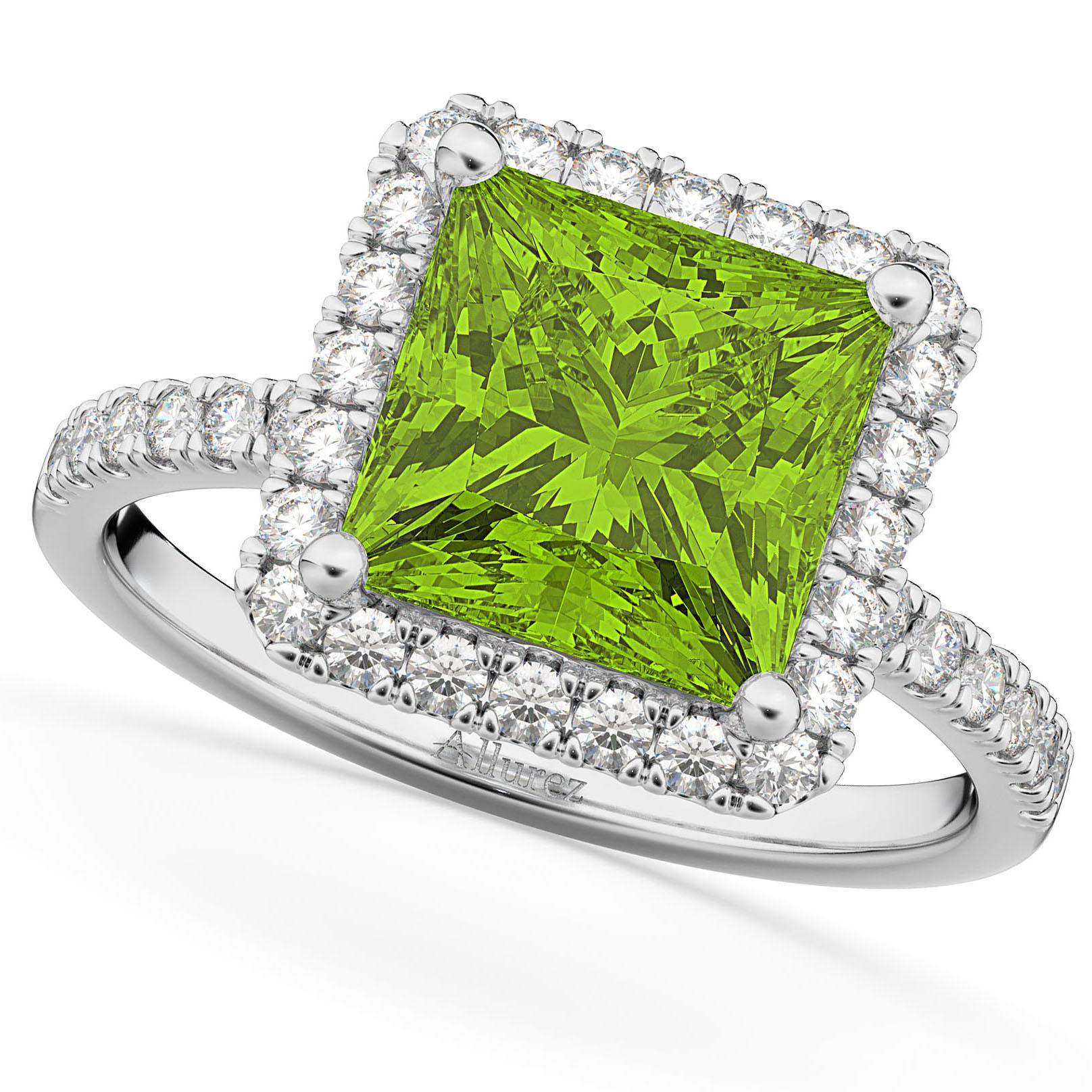 Princess Cut Halo Peridot & Diamond Engagement Ring 14K White Gold 3.47ct