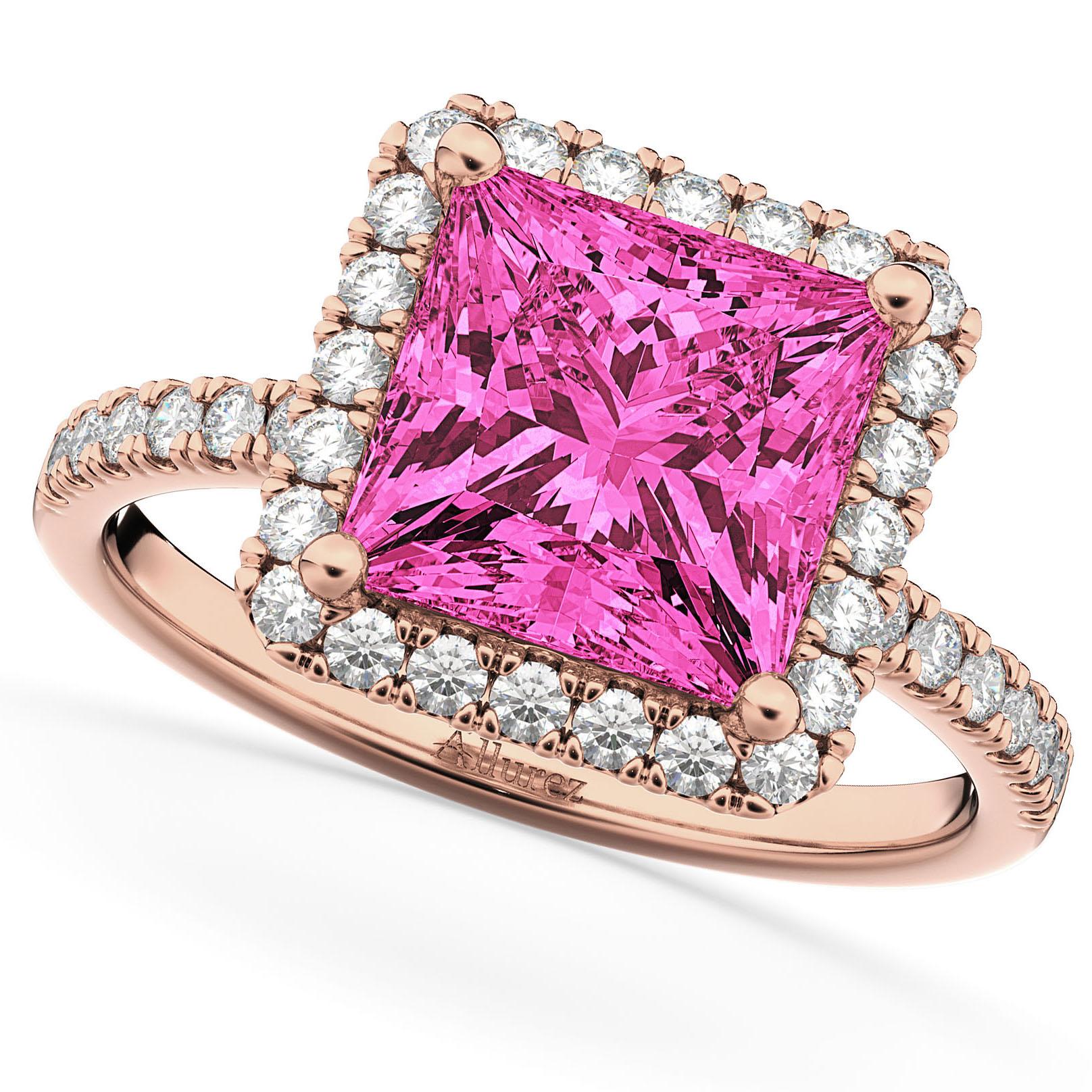 Princess cut halo pink tourmaline diamond engagement for Princess cut pink diamond wedding rings