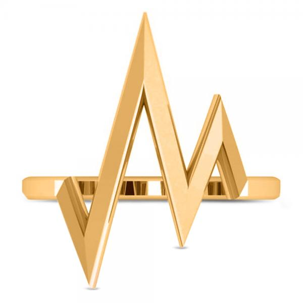 Heartbeat Pulse Vital Sign Fashion Ring Plain Metal 14k Yellow Gold