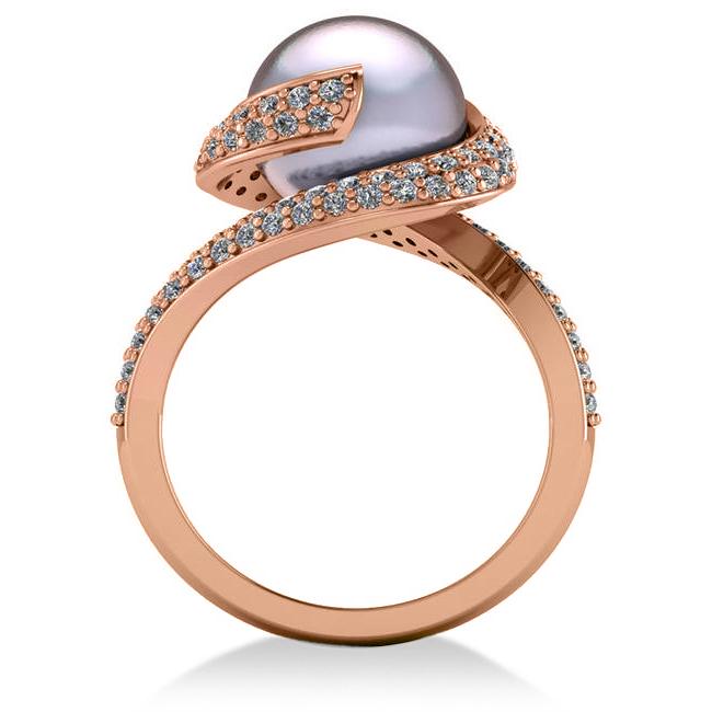 Pearl & Diamond Swirl Engagement Ring 14k Rose Gold 10mm 0