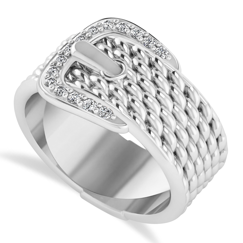 Diamond Belt Buckle Ring 14k White Gold (0.15 ct)