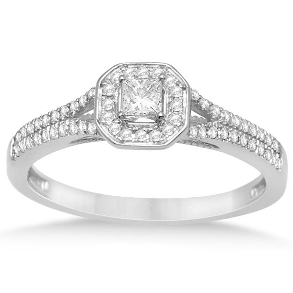 Square Halo Engagement Ring & Wedding Band Set 14k White Gold 0 40ct