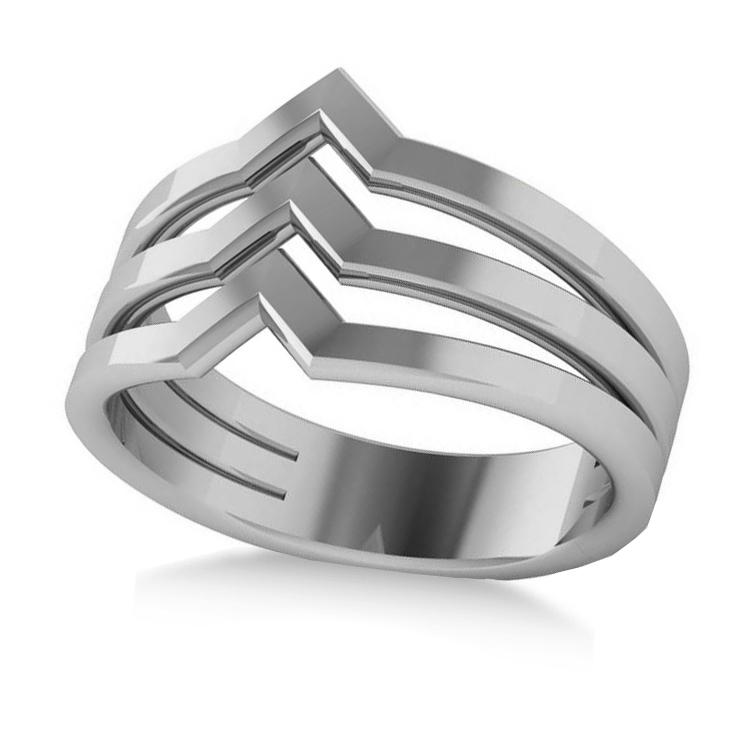 Triple Row Chevron Ladies Fashion Ring Plain Metal 14k White Gold