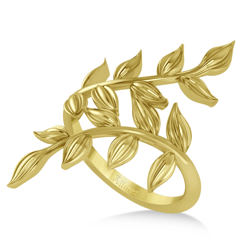 Olive Leaf Vine Plain Metal Fashion Ring 14k Yellow Gold