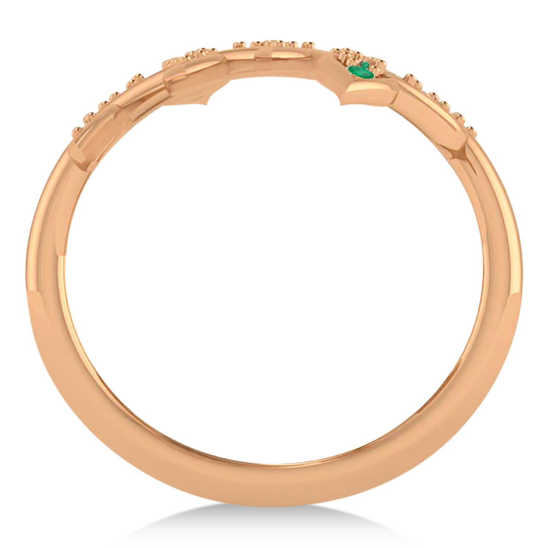 Emerald Olive Leaf Vine Fashion Ring 14k Rose Gold (0.28ct)